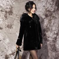 2012 mink fur marten overcoat black female medium-long outerwear lf118