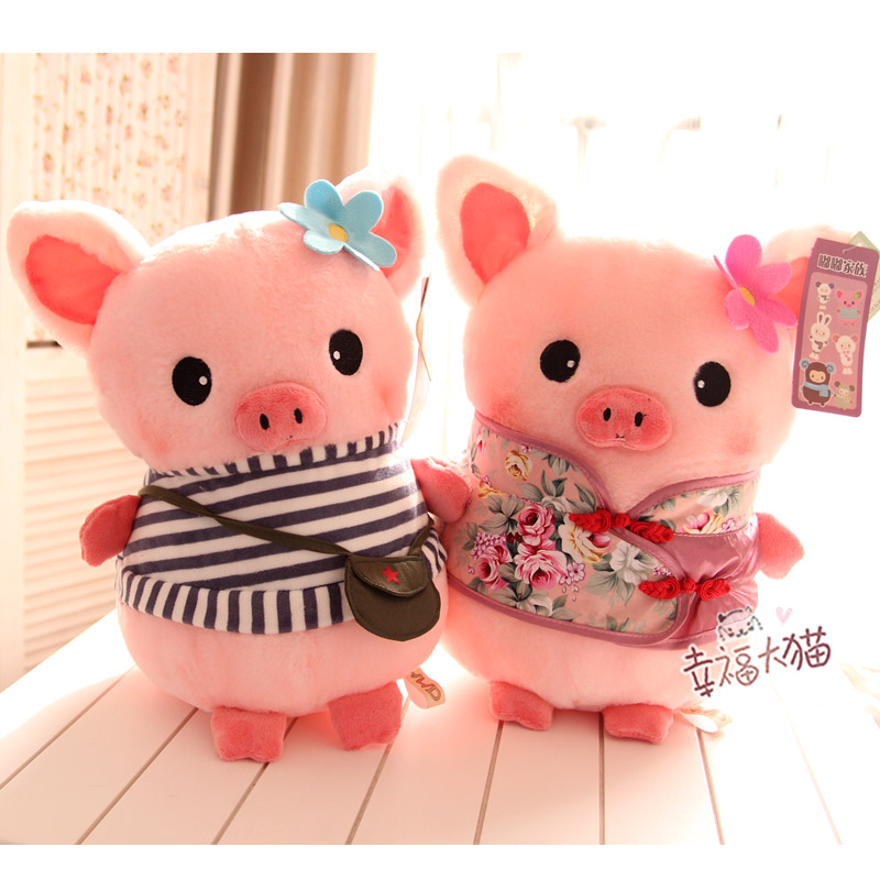 Free Shipping Hwd blaring pig cute stripe t-shirt tang suit shote plush toy doll pillow birthday gift Stuffed Animals TD019(China (Mainland))