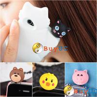 Animal Cute Korean Zoo Earphone Cap Jack Plug For iPhone4 4G S 3G HTC Galaxy