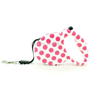 Adjustable Big Pink Leopard retractable flexible pet dog leash lead free shipping WL-B