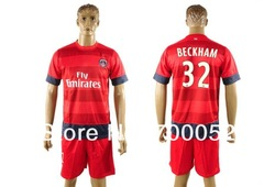 Free Shipping Cheap 2012-13 psg Paris Saint Germain shirt away red soccer football uniforms jersey and short kit BECKHAM 32(China (Mainland))