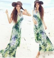 free shipping ladies' fashion dress beach dress Women's bohemia one-piece dress full dressgreen dress