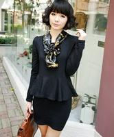 wholesale new style 2014 silk scarf ruffle o-neck ol women's cotton basic skirt one-piece dress