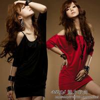 2012 spring women's sexy slim hip red dress one-piece dress suspender skirt