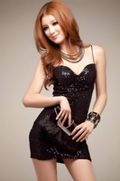 Hot-selling 2012 sexy thin shoulder spaghetti strap tube top design one-piece dress paillette