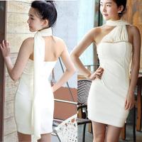 sexy dress pleated slim hip tube top dress one-piece dress scarf
