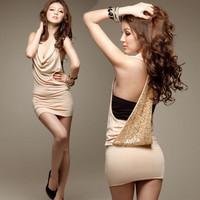 sexy racerback paillette halter-neck slim hip one-piece party dress