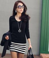 new fasthion long-sleeve basic black-and-white stripe one-piece dress slim hip slim