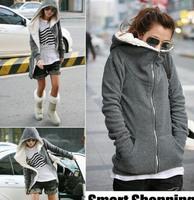 Women's Hooded Jacket,Long Sleeve Fleece Thicken Warm Hoodies Faux Fur Lining, Black/Gray Hoody,Free Shipping