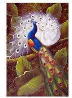 pavões pássaros jardim árvore grande paisagem pintura a óleo