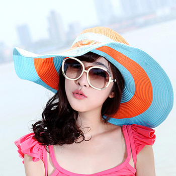 wholesale new style Swimwear sun hat large brim hat steel wire big along the cap sun-shading sun hat beach hat strawhat 6