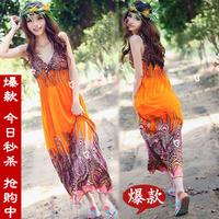 Free Shipping Summer deep v neck sleeveless pattern long design one-piece dress ultra long dress beach dress