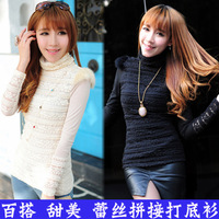 2012 autumn and winter new arrival fashion lace long-sleeve T-shirt women's solid color turtleneck lace basic shirt
