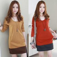 Free Shipping  spring women's medium-long slim hip long-sleeve T-shirt shirt patchwork color block decoration basic shirt female
