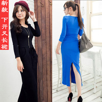 New spring slim long-sleeve solid color placketing long design one-piece dress casual dresses full dress Free Shipping