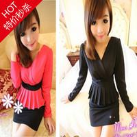 Free Shipping New elegant gentlewomen V-neck patchwork ruffle slim hip high waist one-piece dress trend ol women's