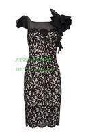 Free Shipping Black lace temptation elegant slim one-piece dress evening dress