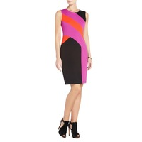 Free Shipping 2013 fashion color block decoration slim sleeveless o-neck one-piece dress