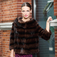 Fur coat 2012 mink overcoat regular style double collar fight mink women outerwear