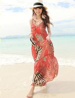 Free Shipping Red leopard print beach dress V-neck chiffon expansion bottom one-piece dress bohemia suspender skirt full dress
