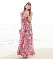 Free Shipping Top bohemia flower V-neck chiffon spaghetti strap expansion bottom full dress one-piece dress beach dress