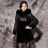Lafon 2012 fox fur fight mink sheepskin clothing Women medium-long fur coat overcoat f117