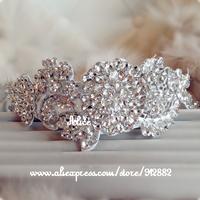 Free Shipping Amazing Bridal Bridesmaid Lace Hairband Headband Soft Handmade Austrian Crystal RHINESTONE Prom Party Wedding gift
