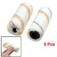 5 Pcs Gray Orange Stripe Pattern Plastic Core Acrylic Roller Cover Sleeve White