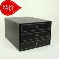 free shipping Classic quality leather desktop storage box small three drawers cabinet wood a4 stationery supplies