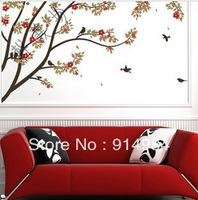 Free shipping parlour bedroom decoration Sofa TV background can remove Wall sticker Tree and Bird