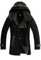 Men's 100% lambskin Genuine sheepskin Shearling Coat .Oversized hood freeshipping EMS. men's winter leather coat