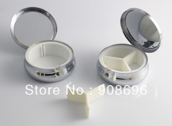 4pcs Bigger Metal Pill boxes DIY Storage Box  Medicine Organizer container Silver 6cm-Free Shipping