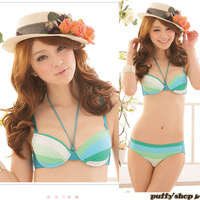 Winter green fresh removable halter-neck shoulder tape thick cup insert push up sexy young girl underwear bra set