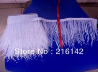 Free Shipping- 10 yards/lot  WHITE ostrich feather trimming fringe on Satin Header 12-15cm in width