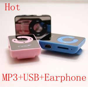 Free Shipping 10 Sets/lot Mini Sport Mirror MP3 Music Player with TF Card Slot At Cheapest Price + USB Cable + Earphone,