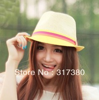 Wholesale 2014 COOL Womens Straw Fedora Cap Women Trilby Summer Hat Ladies Fedoras Hats Fashion Lady Sun Caps Spring Headgears