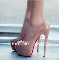 Free shipping 2013 Newest design platform sexy ultra high heels pump shoes open toe high-heeled shoes red sole dress shoes 067