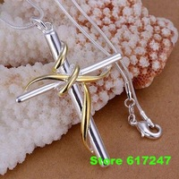 P088 fashion jewelry chains necklace 925 silver pendant Separations twisted rope cross /aiaa izha