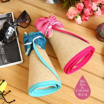 wholesale 5pcs/lot Summer gentlewomen straw braid hat portable sun hat summer hat big sun-shading strawhat beach cap
