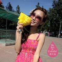 wholesale 5pcs/lot 2014 bohemia straw braid flower coin purse mobile phone bag 5-color small wallet women's bag bags