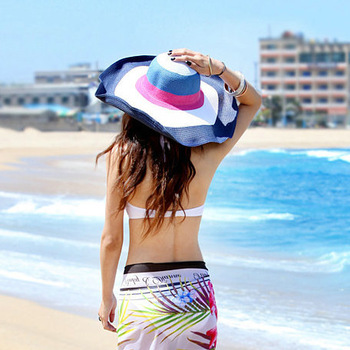wholesale 5pcs/lot Women's colorful sun-shading straw hat large brim hat sun hat millinery beach cap sun hat