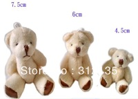 Free Shipping Lovely  Mini Promotion Plush Jointed Teddy Party Bear Toys Stuffed Plush Children Bear H-7.5cm Cream 100pcs/LOT