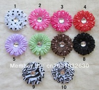 "10pcs 2""  Polka Dot Small Gerbera Daisy Flowers Hair Clip Baby Girls Head Flower Children Kid's Hair Accessories Free Shipping"