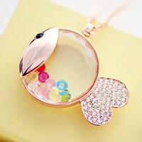 wholesale 10pcs/lot Accessories dollarfish bear decoration long necklace female accessories long design crystal