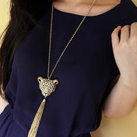 wholesale 10pcs/lot Accessories leopard head tassel decoration long necklace female accessories long design crystal fashion