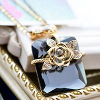 wholesale 10pcs/lot Accessories square rose decoration long necklace female accessories long design crystal vintage