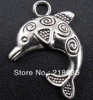 HOT Wholesale Fashion 130pcs Tibetan Silver Dolphin Charms Pendants DIY Metal Jewelry  25*25mm A517