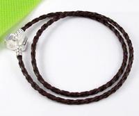 Wholesale Lots 20pcs Brown Double Leather Bracelets Fit European Charms Beads (2651)