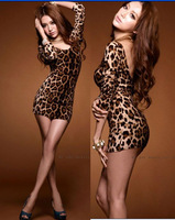 2014 Free Shiping HOT Women's Sexy U collar backless Leopard small mini dress light Clubbing
