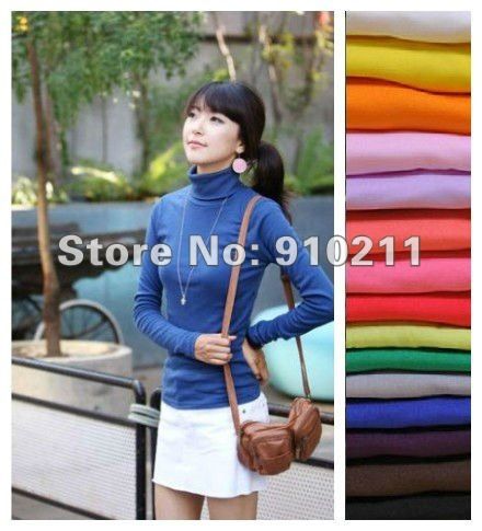 On Sale/FREE SHIPPING/DROP SHIPPING Long Sleeveless 100% Silk T Shirts Winter Shirt High Neckline New Year Christmas shirts(China (Mainland))